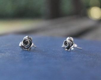 Silver Rose stud earrings Bohemian earrings Ethnic flower earrings Boho stud earrings Gypsy earrings Hippie earrings Gift for her
