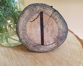 Wood Burned Calligraphy - Table Number - Set of 6
