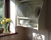 Hand Made Solid Wood Plate Rack Finished in Farrow & Ball Lime White