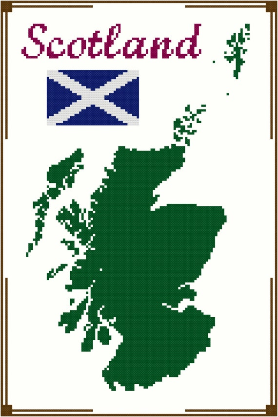 Map Of Scotland Scottish Flag Silhouette Design Cross