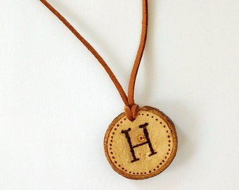 Personalized initial necklace, wood slice necklace, wood burned jewelry, Wood burned letters, monogram necklace, wood slice jewelry, rustic