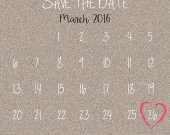 Save the Date Wedding Invitation, Calendar
