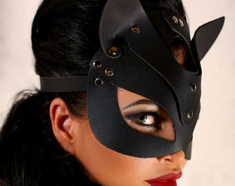 Masquerade leather cat masks for women