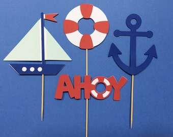 Nautical Cupcake Toppers | Sail Boat Cupcake Toppers | Anchor Cupcake Toppers | Ahoy Cupcake Toppers | Birthday Cupcake Toppers