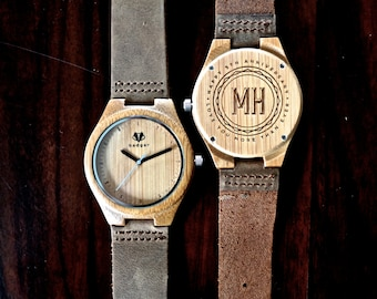 5th Anniversary Gift, Personalized Wooden Watch - Engraved Bamboo Wood Watch