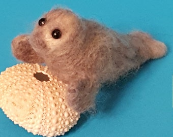 Needle felted grey seal pup