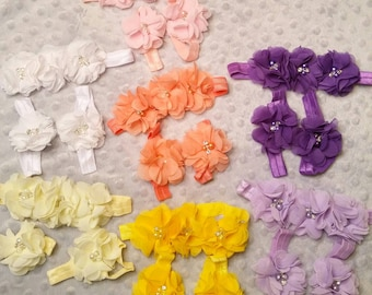 Flowered Headband and Feetband set