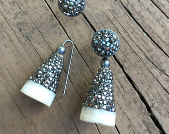 Organic Sterling Silver with Natural Opal Earrings
