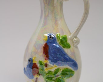 HAND PAINTED Porcelain Lusterware Pitcher Vase.  Features Two Sweet Blue Birds of Happiness!  Equals LOVE!
