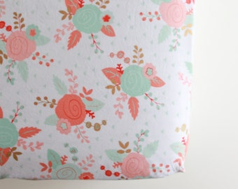 Fitted Crib Sheet - Ready to Ship - Toddler Sheet - Floral Teal Coral Nursery