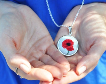 Poppy Necklace. Red Flower Necklace. Flower Statement Necklace. Mothers Day Gift. Mother Necklace. Hand Embroidered Gift. Love Keepsake