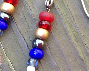 America Red White And Blue Earrings
