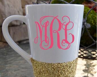 Glitter Monogram Coffee Mug