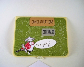 Free Shipping ,Tim Holtz Crazy Birds, Congratulations Graduation Card, Crazy Bird Graduation Card, Celebrate Card,  Diploma Card, Party Card