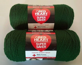 Red Heart Super Saver HUNTER GREEN Yarn Lot of 2 Skeins 7 oz Worsted Weight