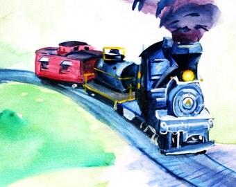 Original Train Watercolor Painting