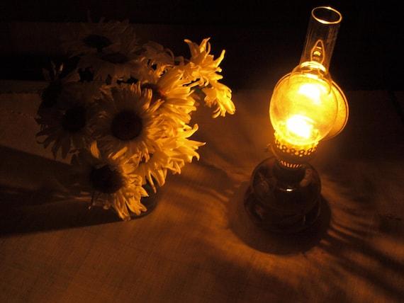 Kerosene lamp with reflector Rustic flat wick hurricane lamp Vintage farmhouse lighting Ancient style romantic lighting 19th century design