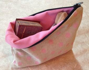 Pink Polkadot Makeup Bag