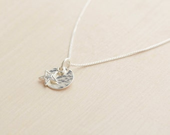 Silver Star and Moon Necklace - Sterling Silver Star Necklace - Silver Moon Necklace - Silver Star Moon Pendant
