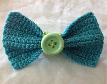 Turquoise and Green Knitted Bow
