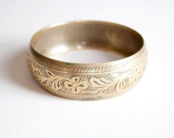 Vintage Etched Brass Bangle Bracelet
