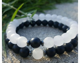 Couples, his and hers, Jade, Black Onyx, gemstone bracelets, for him, for her