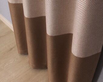 Pair of custom made basket weave grommet curtains