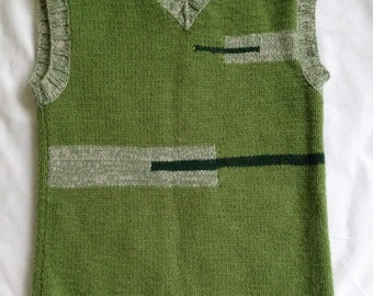 Green sleeveless jamper Geometry