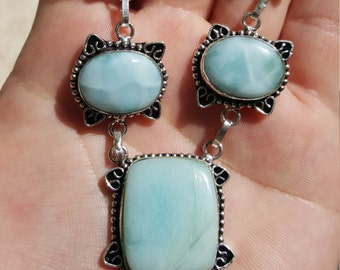 "Light Sky Blue Caribbean Larimar Necklace 18 1/2"" 34g .925 Sterling Silver aka Dolphin Stone aka Atlantis Stone Natural Larimar"