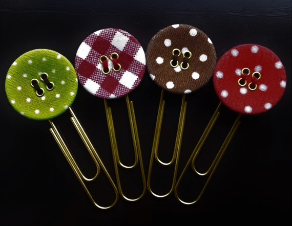 Fabric Button Paperclip/Planner Paperclip