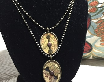 Vintage Map With Arrow Ball Chain Necklace