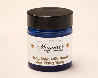Sensual Aromatic Body Balm with Neroli , Rose Geranium and Ylang Ylang. Organic Natural moisturiser for Balanced Skin