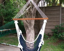 Navy white swing chair outdoor rope hammock