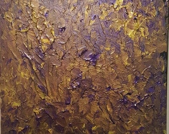 Abstract Textured - Acrylic Purple and Gold
