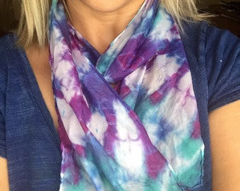 100% silk hand dyed one of a kind petite silk scarf