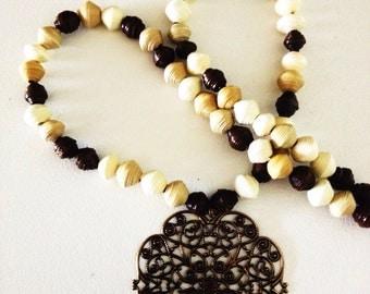 Multi Neutral Single Strand Pendant Necklace