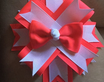 Bright coral and white bow