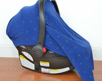 Infant Car Seat Cover Blue with Green Anchors