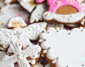 Girl Baptism Cookies (12)- Angel Cookies, Cross Cookies, Christening cookies, Communion cookies, Confirmation cookies, Baby shower cookies