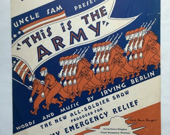 1942 Vintage Sheet Music - This is the Army by Irving Berlin Pubished by This is the Army Inc.