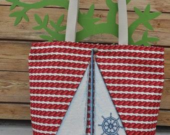 Sailing-Shopper gobelin, handmade piece of beach collection, design sailboat