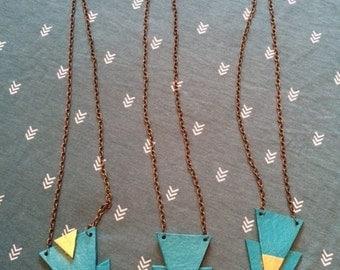 Boho necklace, upcycled leather jewelry, handmade jewelry, boho jewelry, chevron jewelry, triangle pendant jewelry, modern jewelry