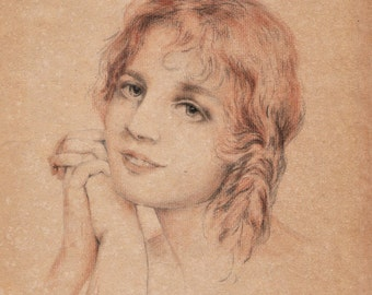 Drawing - PORTRAIT of young girl