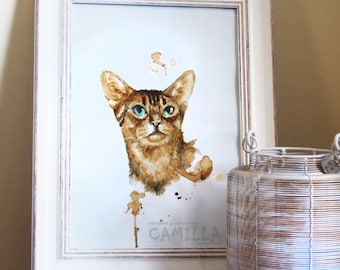 Original coffee painting - Abessinier cat