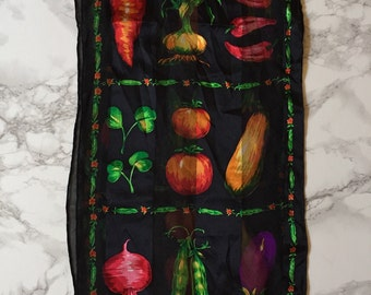 Bill Blass silk scarf / 80s veggie print silk scarf