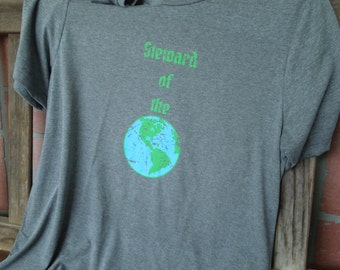 Steward of the Earth Distressed Graphic T-Shirt/Save the Planet Shirt/ Recycle Shirt/Eco-Conscious Tee/Going green TShirt/Earth Day Shirt