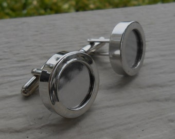 DIY Photo Cufflinks. Silver Plated. Insert Your Own Photo!