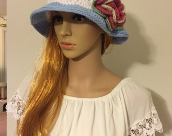 Blue Crochet Sun Hat with Flower