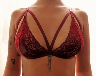 Wine lace double triangle bralette