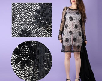 90s Vintage Black Crochet Mini Dress